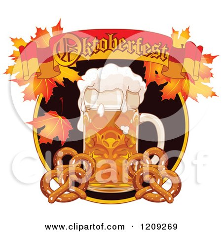Cartoon of a Beer Mug and Soft Pretzels Under an Oktoberfest Banner with Autumn Leaves - Royalty Free Vector Clipart by Pushkin