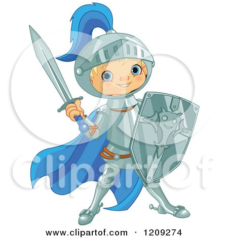 Cartoon of a Blond Knight Boy Ready for Battle - Royalty Free Vector Clipart by Pushkin
