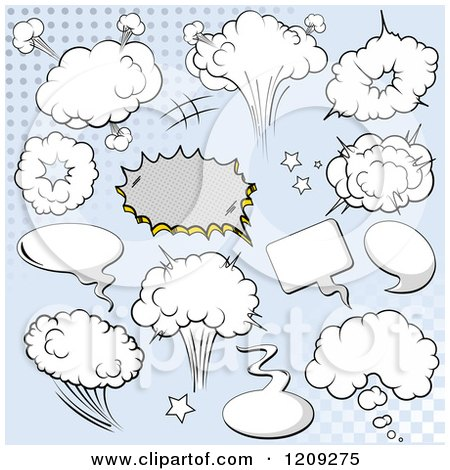 Cartoon of a Comic Bursts and Design Elements over Blue - Royalty Free Vector Clipart by Pushkin