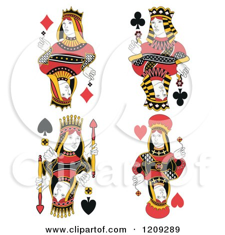 Clipart of Isolated Queens of Diamonds, Clubs, Spades and Hearts - Royalty Free Vector Illustration by Frisko