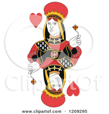 Clipart of an Isolated Queen of Hearts - Royalty Free Vector Illustration by Frisko
