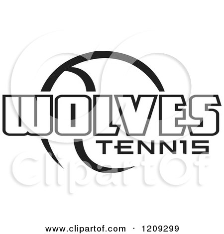 Clipart of a Black and White Ball and WOLVES TENNIS Team Text - Royalty Free Vector Illustration by Johnny Sajem