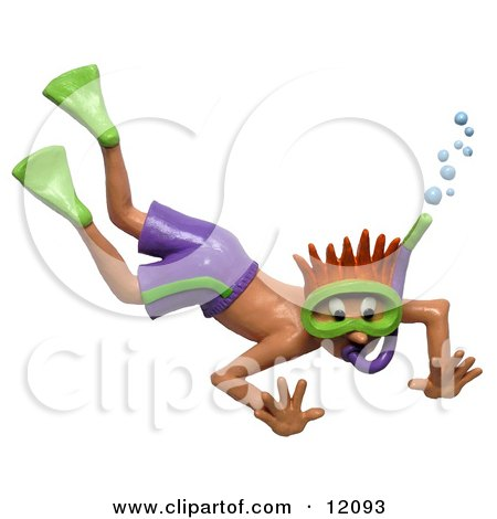 Clay Sculpture Clipart Shocked Boy Snorkeling - Royalty Free 3d Illustration  by Amy Vangsgard