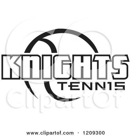 Clipart of a Black and White Ball and KNIGHTS TENNIS Team Text - Royalty Free Vector Illustration by Johnny Sajem