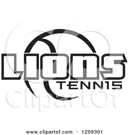 Clipart of a Black and White Ball and LIONS TENNIS Team Text - Royalty Free Vector Illustration by Johnny Sajem