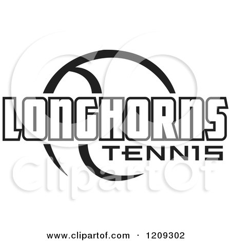 Clipart of a Black and White Ball and LONGHORNS TENNIS Team Text - Royalty Free Vector Illustration by Johnny Sajem