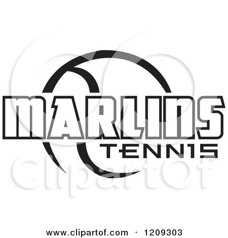 Clipart of a Black and White Ball and MARLINS TENNIS Team Text - Royalty Free Vector Illustration by Johnny Sajem