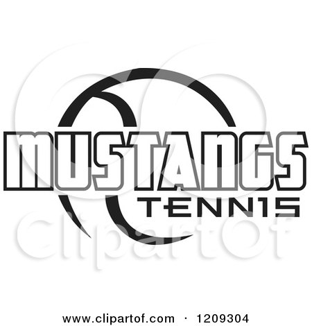 Clipart of a Black and White Ball and MUSTANGS TENNIS Team Text - Royalty Free Vector Illustration by Johnny Sajem