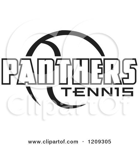 Clipart of a Black and White Ball and PANTHERS TENNIS Team Text - Royalty Free Vector Illustration by Johnny Sajem