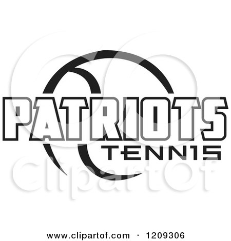 Clipart of a Black and White Ball and PATRIOTS TENNIS Team Text - Royalty Free Vector Illustration by Johnny Sajem