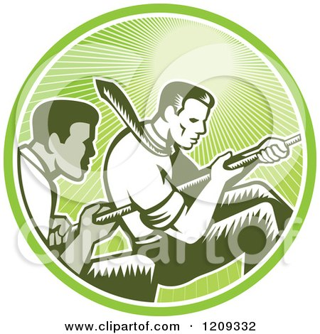 Clipart of Retro Woodcut Competitive Businessmen Working Together in a Tug of War in a Green Sunny Circle - Royalty Free Vector Illustration by patrimonio