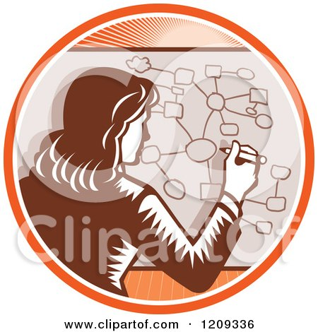 Clipart of a Retro Woodcut Businesswoman Drawing a Complex Diagram in an Orange Sunny Circle - Royalty Free Vector Illustration by patrimonio