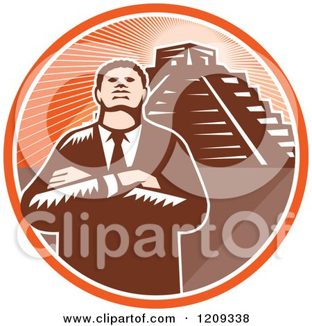 Clipart of a Retro Woodcut Black Businessman with Folded Arms over a Pyramid in an Orange Sunny Circle - Royalty Free Vector Illustration by patrimonio
