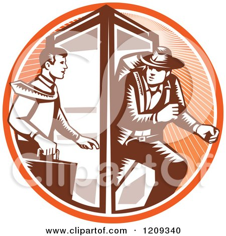 Clipart of a Retro Woodcut Businessman Changing to an Explorer in a Phone Booth in an Orange Sunny Circle - Royalty Free Vector Illustration by patrimonio