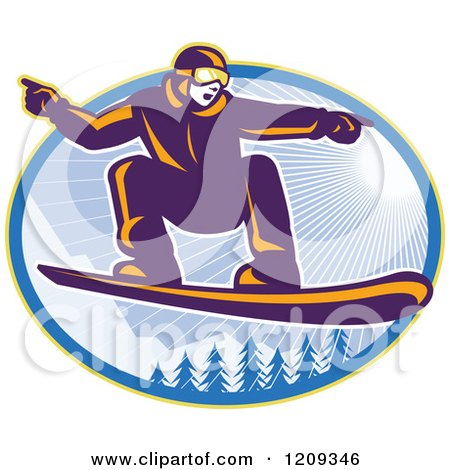 Clipart of a Retro Snowboarder Catching Air over Alpine Trees and Sunshine in an Oval - Royalty Free Vector Illustration by patrimonio