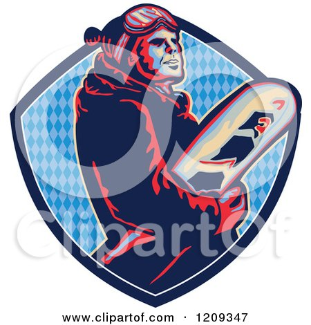 Clipart of a Retro Snowboarder in a Blue Diamond Patterned Crest Shield - Royalty Free Vector Illustration by patrimonio
