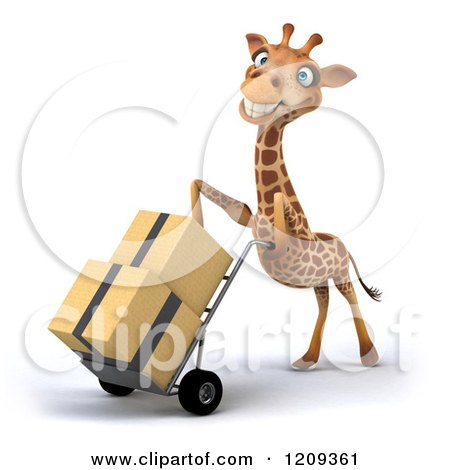 Clipart of a 3d Happy Giraffe Pushing Boxes on a Dolly Hand Truck 3 - Royalty Free CGI Illustration by Julos
