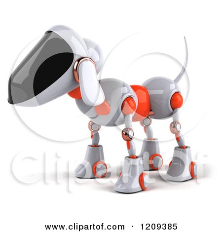 Clipart of a 3d Robotic Dog Facing Left - Royalty Free CGI Illustration by Julos