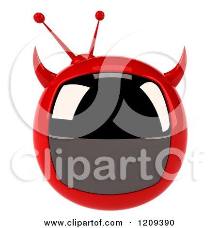 Clipart Of A 3d Evil Devil Tv Royalty Free CGI Illustration