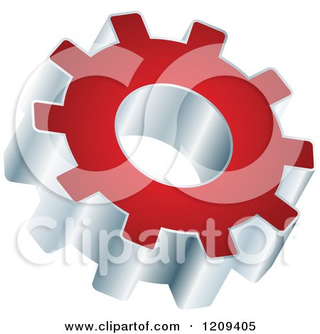 Clipart of a 3d Red and Silver Gear Setting Icon - Royalty Free Vector Illustration by Andrei Marincas
