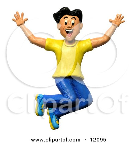 Clay Sculpture Clipart Happy And Energetic Man Jumping - Royalty Free 3d Illustration  by Amy Vangsgard