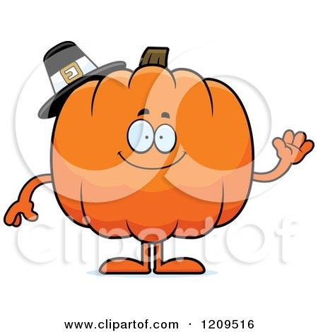 Cartoon of a Friendly Pilgrim Pumpkin Mascot Waving - Royalty Free Vector Clipart by Cory Thoman