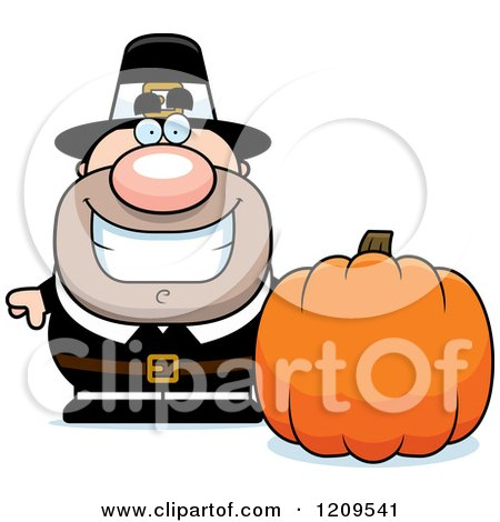 Cartoon of a Happy Male Pilgrim Man with a Pumpkin - Royalty Free Vector Clipart by Cory Thoman