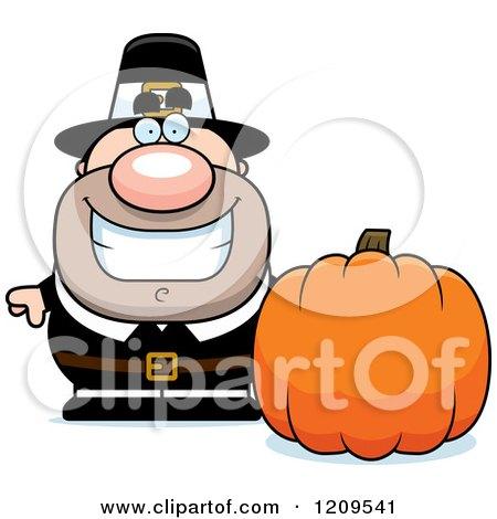 Happy Male Pilgrim Man with a Pumpkin Posters, Art Prints