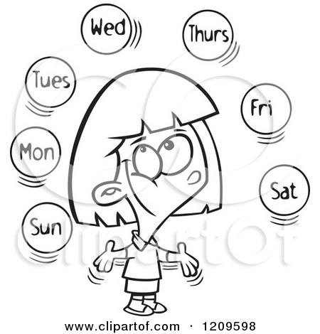 Cartoon of a Black and White Happy Girl Learning the Days of the Week - Royalty Free Vector Clipart by toonaday