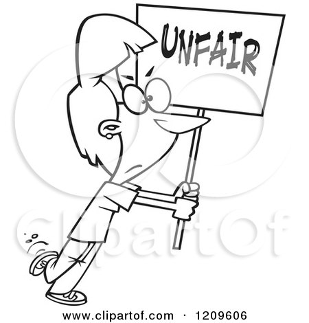 Cartoon of a Black and White Picketing Woman Carrying an Unfair Sign - Royalty Free Vector Clipart by toonaday