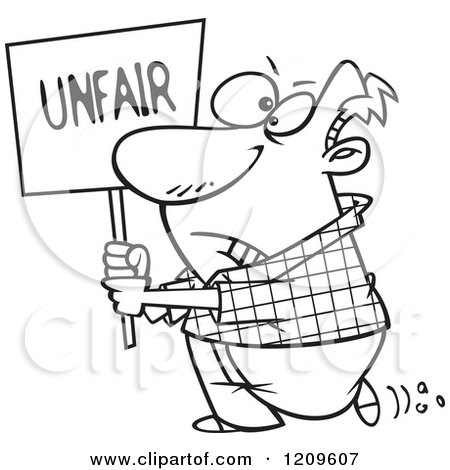 Cartoon of a Black and White Picketing Man Carrying an Unfair Sign - Royalty Free Vector Clipart by toonaday