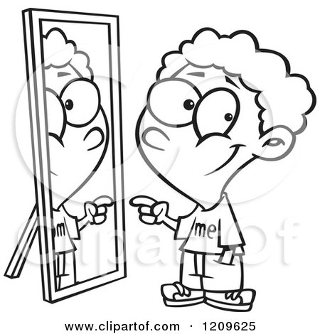 Black And White Boy Pointing To His Reflection In The Mirror 1209625
