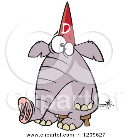 Cartoon of a Dumb Elephant Sitting on a Stool and Wearing a Dunce Hat - Royalty Free Vector Clipart by toonaday