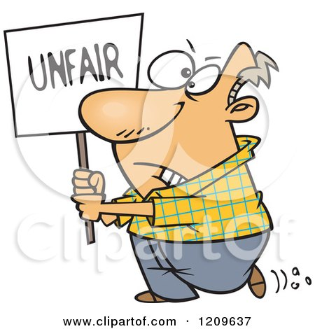 Cartoon of a Picketing Caucasian Man Carrying an Unfair Sign - Royalty Free Vector Clipart by toonaday