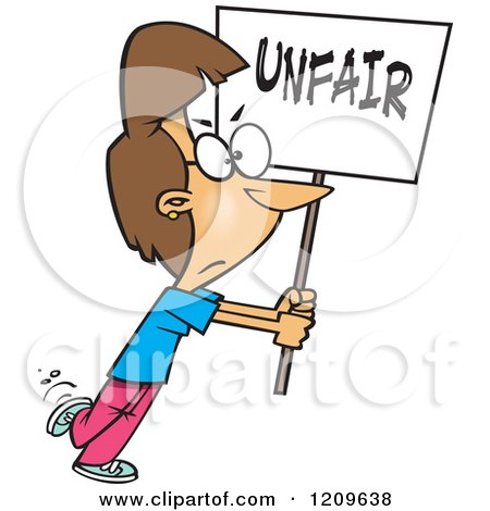 Cartoon of a Picketing Caucasian Woman Carrying an Unfair Sign - Royalty Free Vector Clipart by toonaday