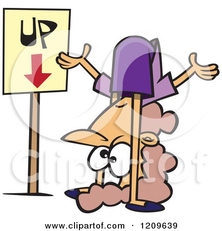 Cartoon of a Confused Caucasian Woman Contorting Her Body by an up down Sign - Royalty Free Vector Clipart by toonaday
