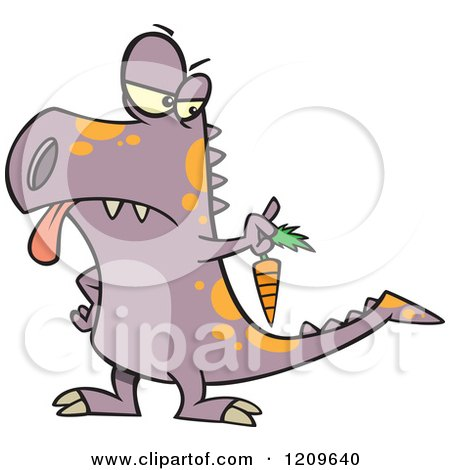Cartoon of a Disgusted Dinosaur Holding out a Carrot - Royalty Free Vector Clipart by toonaday