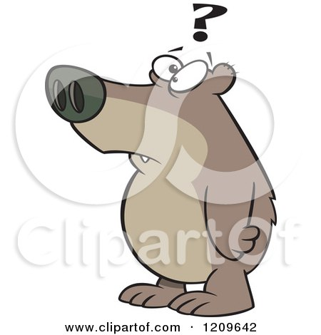 Cartoon of a Confused Bear with a Question Mark - Royalty Free Vector Clipart by toonaday