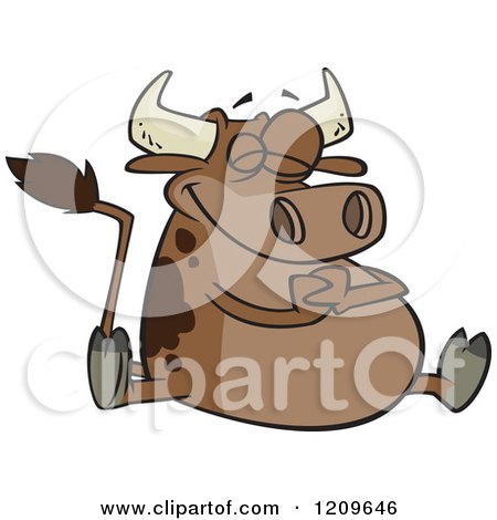 Cartoon of a Happy Fat Brown Cow Sitting - Royalty Free Vector Clipart by toonaday