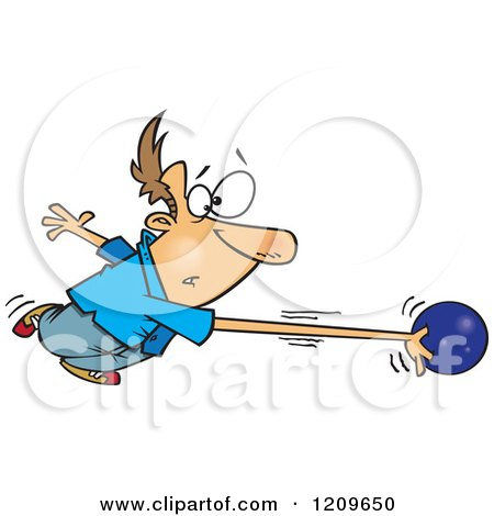 Cartoon of a Caucasian Man's Arm Stretching and Going with a Bowling Ball - Royalty Free Vector Clipart by toonaday