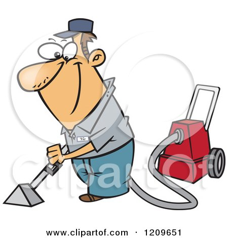 Clipart of a retro carpet cleaner man with a vacuum over for Cartoon carpet