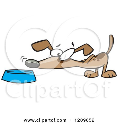 Cartoon of a Dog Sniffing Food in a Bowl - Royalty Free Vector Clipart by toonaday