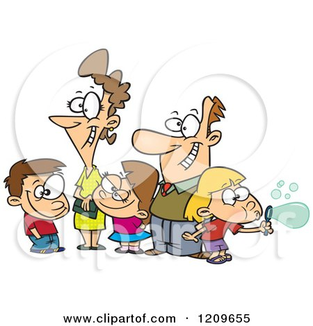 Cartoon of a Happy Caucasian Family of Five - Royalty Free Vector Clipart by toonaday