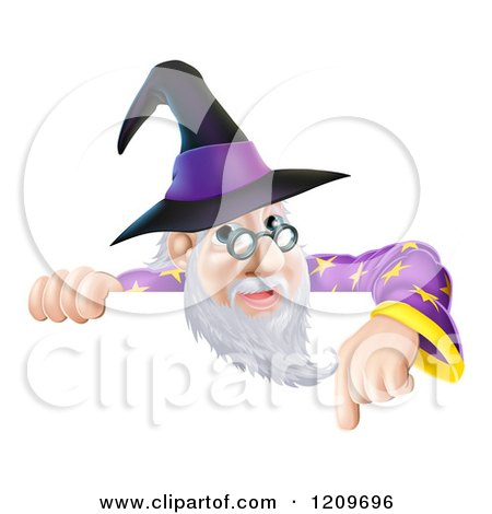 Cartoon of a Happy Gray Bearded Wizard with Glasses, Pointing down at a Sign - Royalty Free Vector Clipart by AtStockIllustration