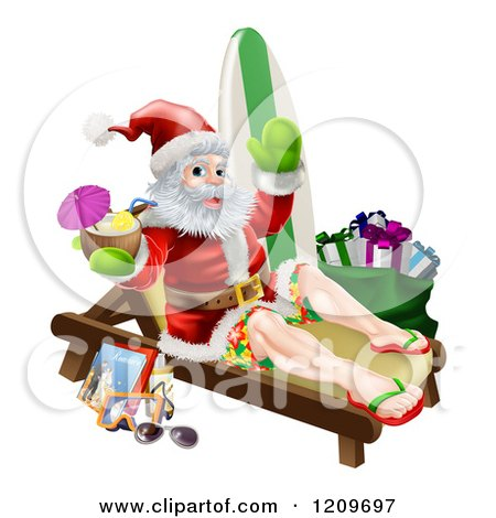 Cartoon of a Relaxing Santa Holding a Cocktail and Waving with Vacation Items - Royalty Free Vector Clipart by AtStockIllustration
