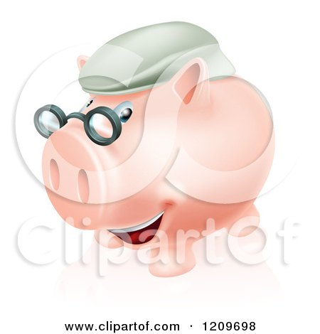 Cartoon of a Pension Piggy Bank with Glasses and a Green Hat - Royalty Free Vector Clipart by AtStockIllustration