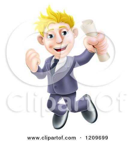 Cartoon of a Happy Blond Graduate Business Man Jumping and Holding a Diploma - Royalty Free Vector Clipart by AtStockIllustration