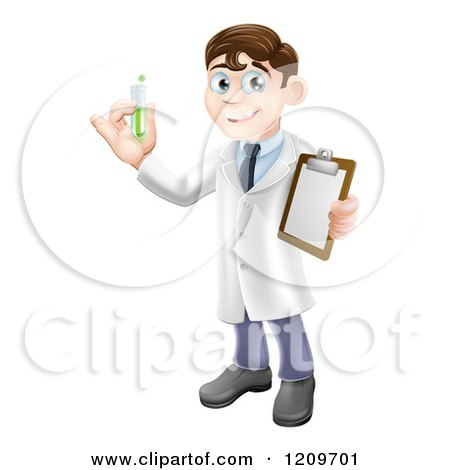 Cartoon of a Brunette Male Scientist Holding a Clipboard and Test Tube - Royalty Free Vector Clipart by AtStockIllustration
