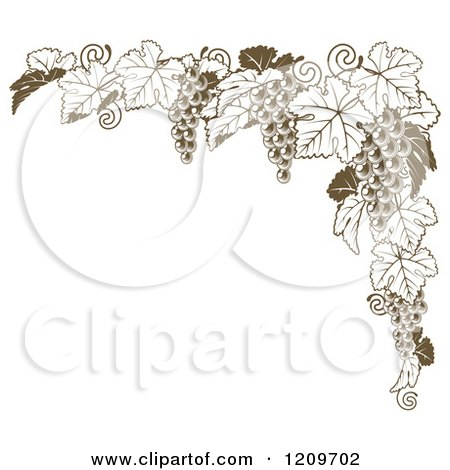 Clipart of a Brown Grape Vine Corner Border - Royalty Free Vector Illustration by AtStockIllustration
