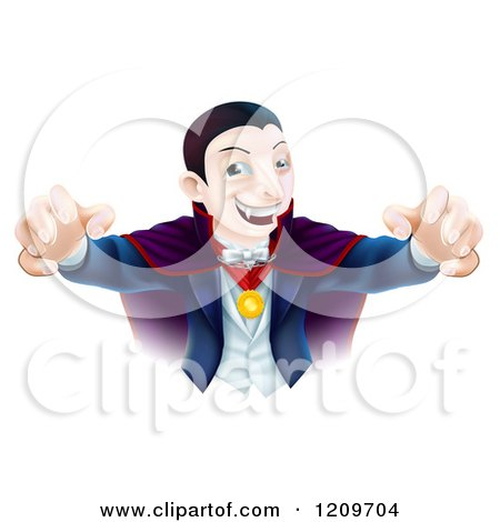 Cartoon of a Dracula Vampire Reaching out with His Hands - Royalty Free Vector Clipart by AtStockIllustration